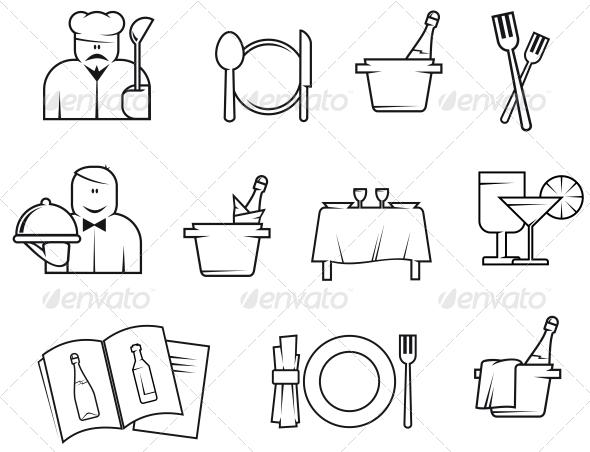 Restaurant Symbols - Food Objects