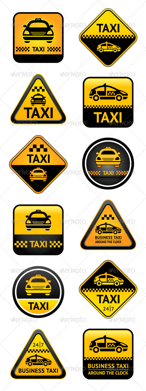 Taxi Set Buttons - Services Commercial / Shopping