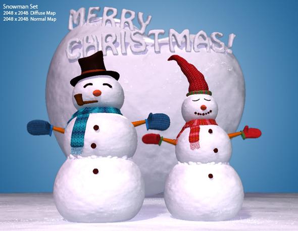 High Quality 3D Snowman Set - 3DOcean Item for Sale