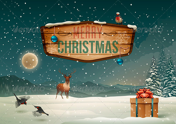 Winter holidays Landscape with Wooden Sign - Christmas Seasons/Holidays