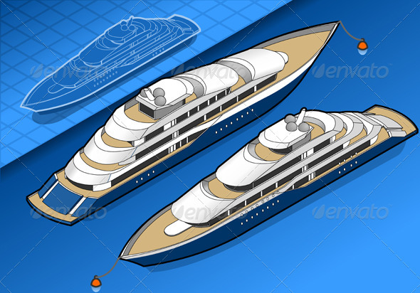 Isometric Yacht in Two Positions - Miscellaneous Vectors