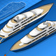 Isometric Yacht in Two Positions - GraphicRiver Item for Sale
