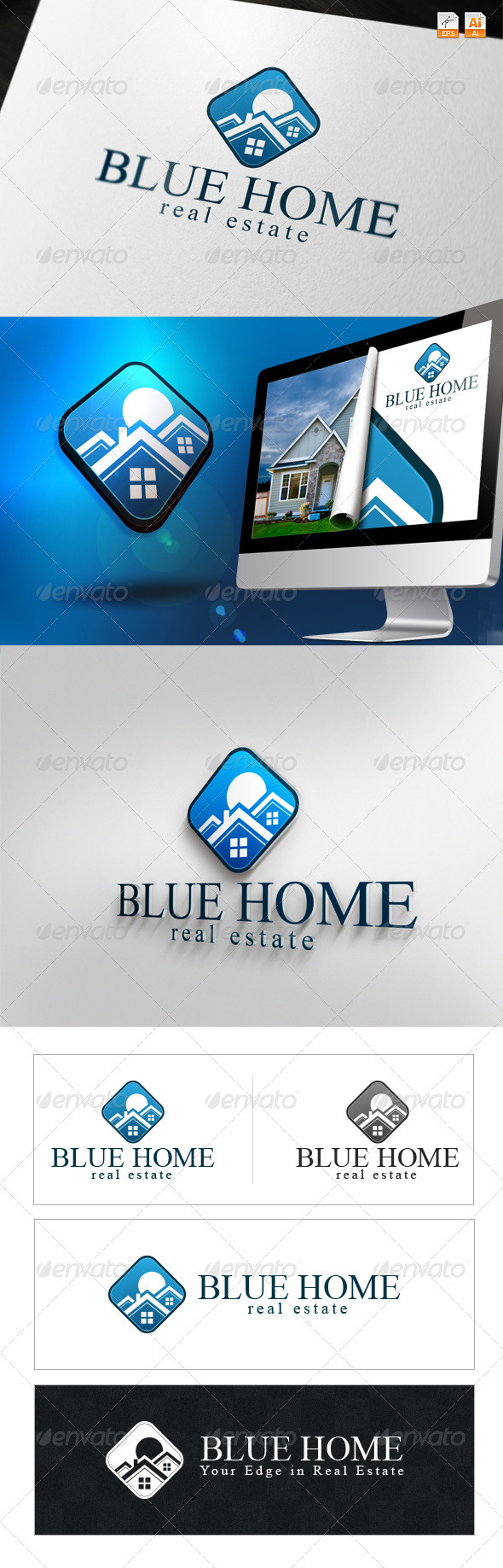Blue Home - Real Estate Logo - Buildings Logo Templates
