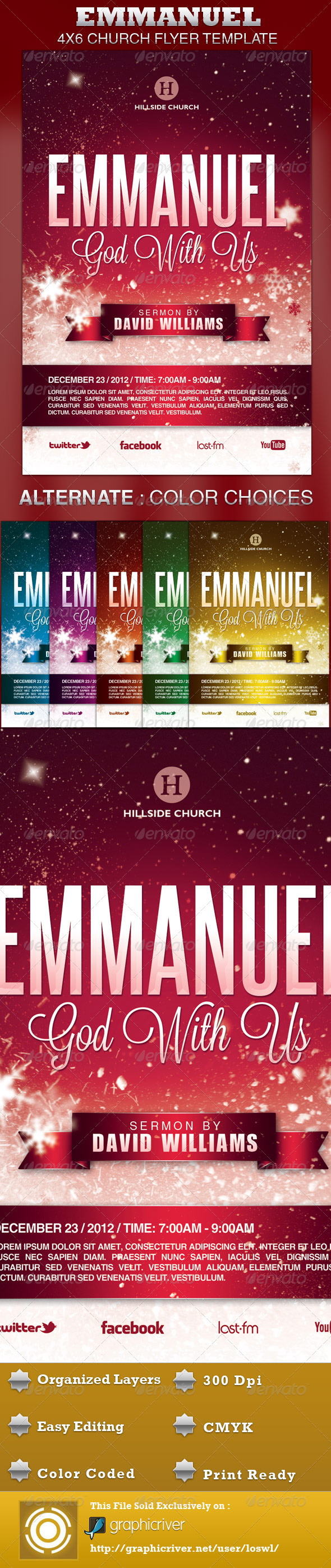 Emmanuel Church Flyer Template - Church Flyers