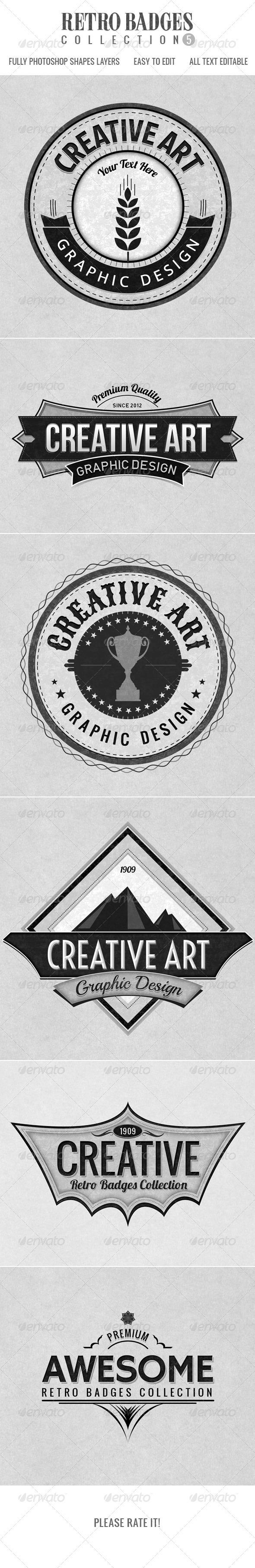 Retro Badges col.5 - Badges & Stickers Web Elements