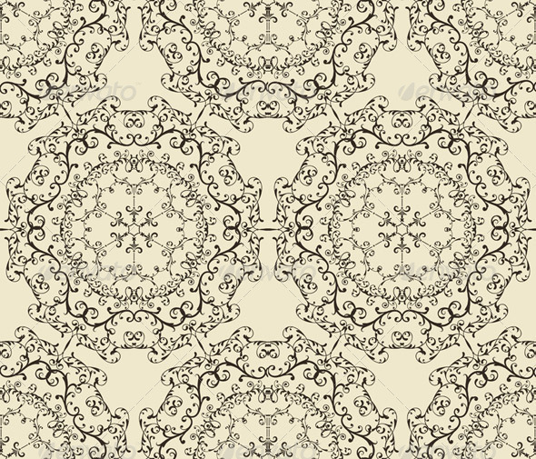 Vector Seamless Vintage Wallpaper Pattern - Patterns Decorative