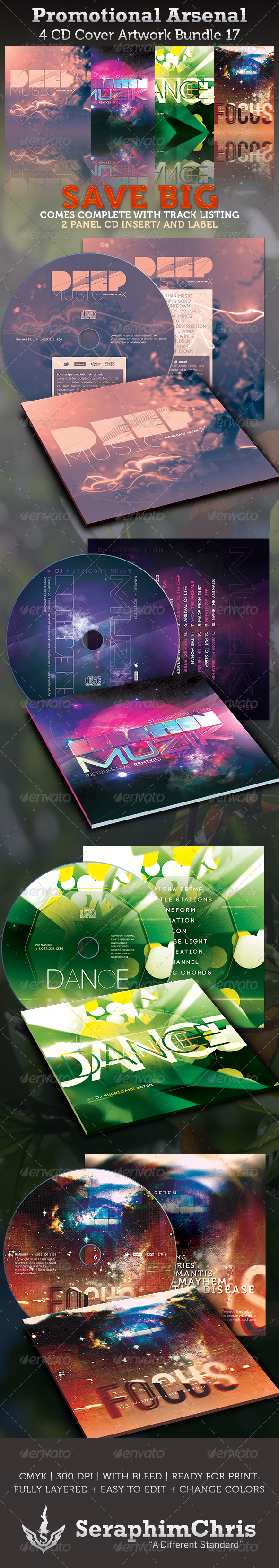 Promotional Arsenal CD Cover Artwork Bundle 17 - CD & DVD Artwork Print Templates