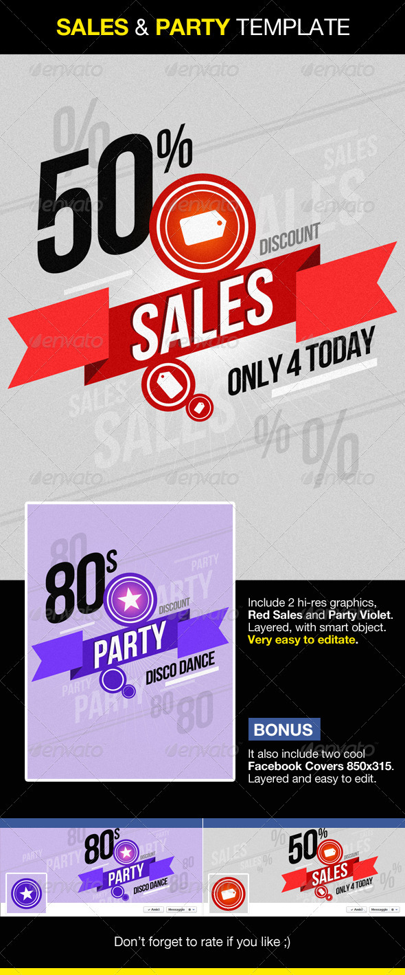 Sales and Party Graphics - Facebook cover included - Backgrounds Graphics