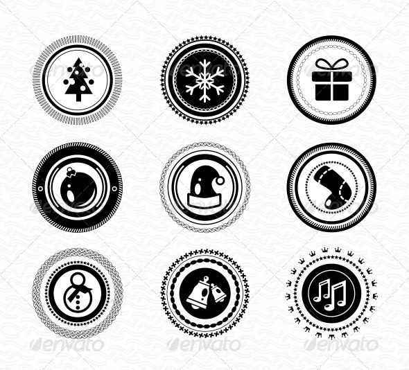 Set of Vintage Retro Black Christmas Labels - Web Elements Vectors