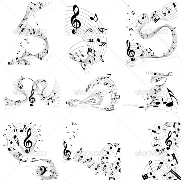Musical Note Staff Set - Miscellaneous Vectors