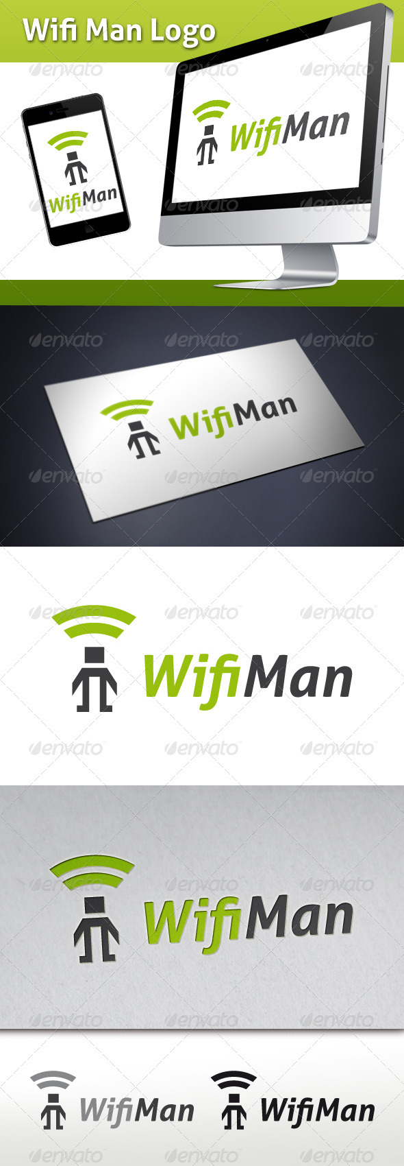 Wifi Man Logo Template - Humans Logo Templates