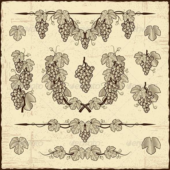 Retro Grapes Collection - Decorative Symbols Decorative
