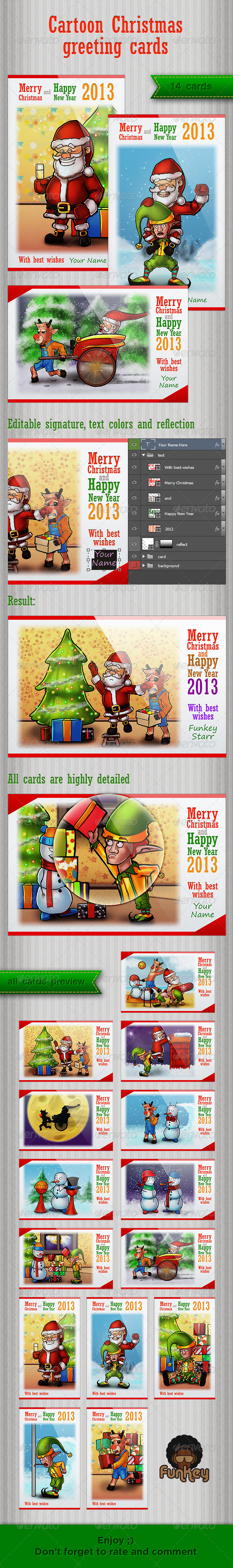 Cartoon Christmas greeting cards - Illustrations Graphics