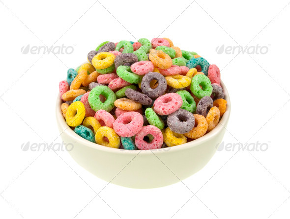 Loops cereal bowl top view - Stock Photo - Images