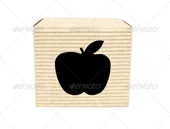 Cartridge box with apple cut-out front view - Stock Photo - Images