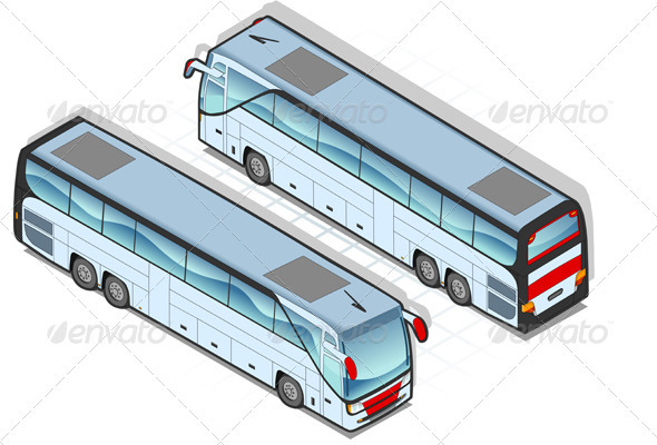 Isometric Coach Bus in Two Positions - Man-made Objects Objects