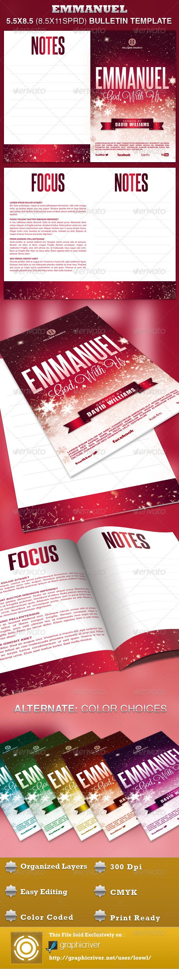 Emmanuel Church Bulletin Template - Informational Brochures