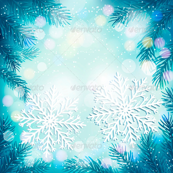 Christmas Blue Background with Tree Branches - Christmas Seasons/Holidays