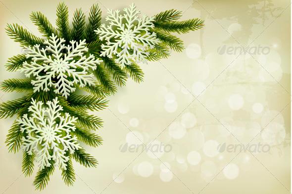 Christmas Retro Background with Snowflakes - Christmas Seasons/Holidays