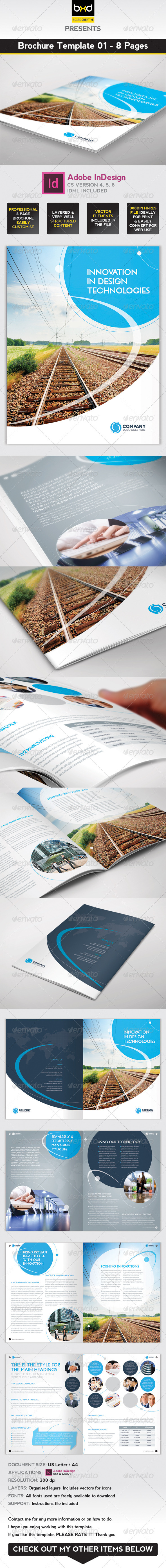 Brochure Template - InDesign 8 Page Layout 01 - Corporate Brochures
