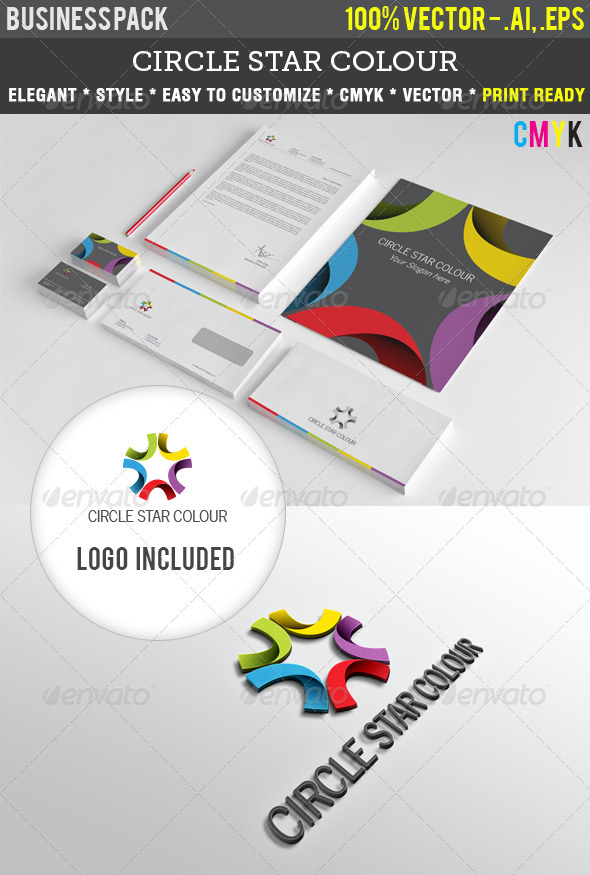 Circle Star Colour Indentity Pack - Stationery Print Templates
