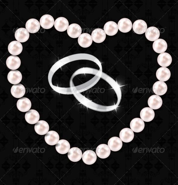 Pearl Heart Vector Illustration bBackground - Decorative Symbols Decorative