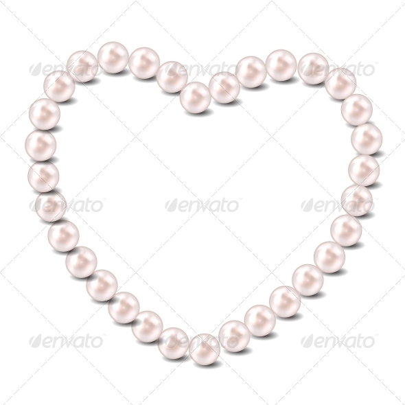 Pearl Heart Vector Illustration Background - Backgrounds Decorative