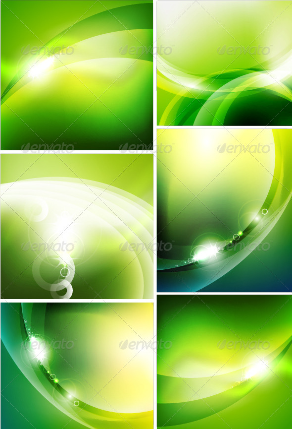 Glossy Green Wave Backgrounds - Backgrounds Decorative