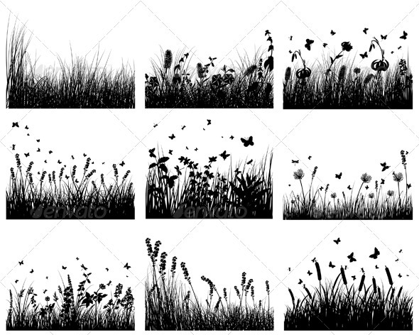 Meadow Silhouette Set - Landscapes Nature