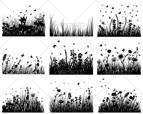 Meadow Silhouette Set - Landscapes Nature