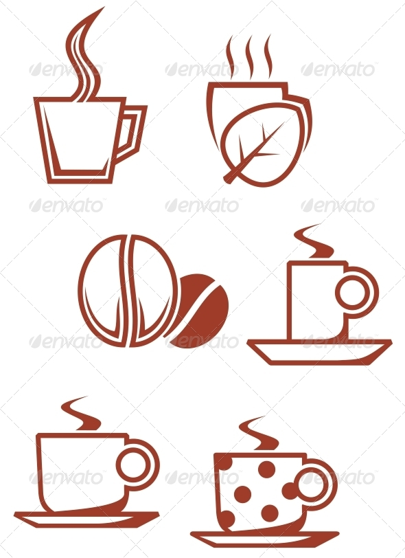 Tea and coffee symbols - Decorative Symbols Decorative