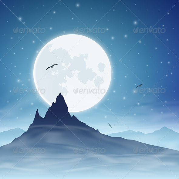 Mountain and Moon - Landscapes Nature