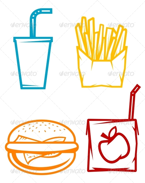 Fast Food Symbols - Food Objects