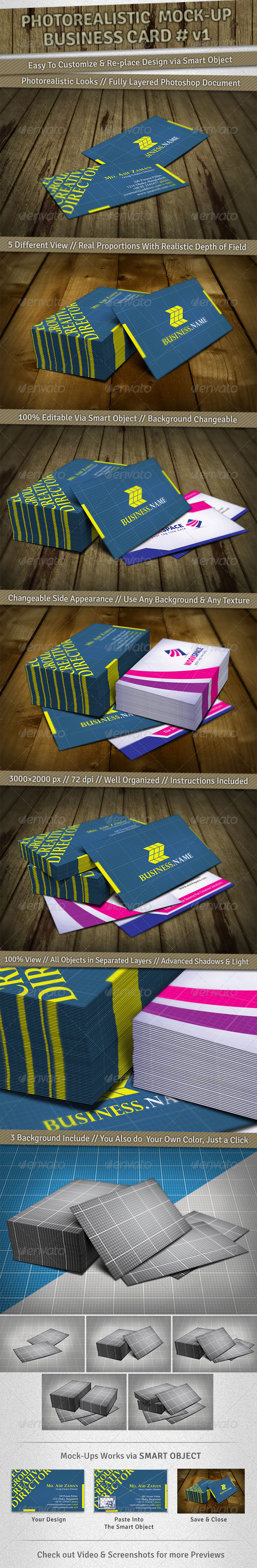5 Mockup | Photorealistic Business Card v1 - Business Cards Print
