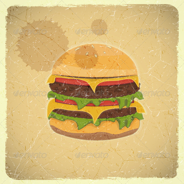 Grunge Cover for Hamburgers Menu - Food Objects