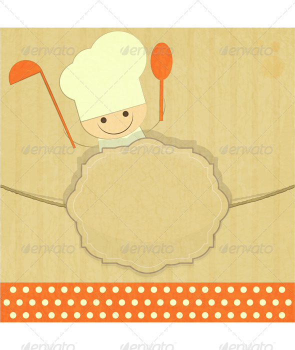 Design of Kids Menu with Smiling Chefs - Food Objects