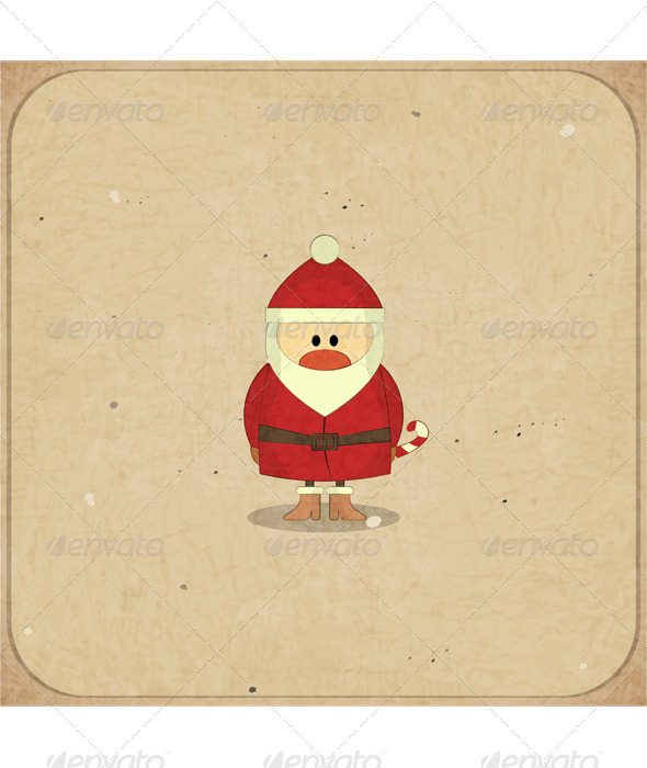Merry Christmas Retro card with Santa Claus - Christmas Seasons/Holidays
