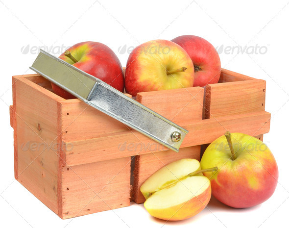 Wooden Crate with Red Apples - Stock Photo - Images