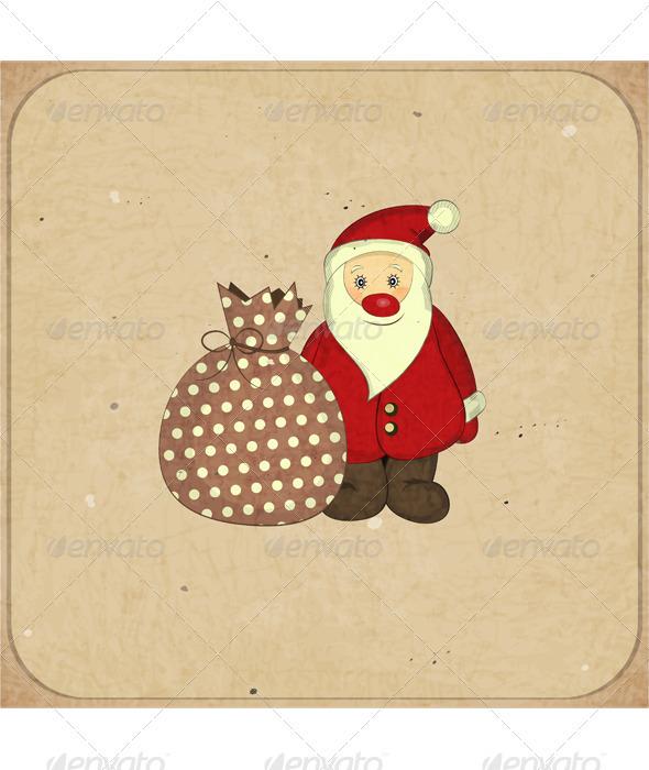 Christmas Cards with Cartoon Santa and Gift - Christmas Seasons/Holidays