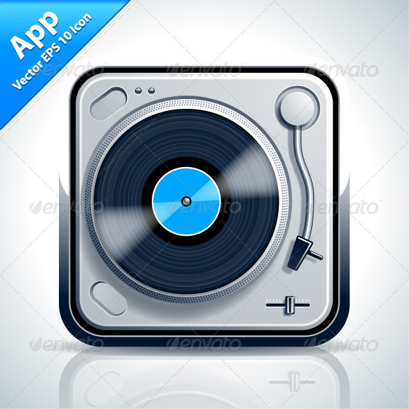 Turntable Musical App Icon - Web Elements Vectors