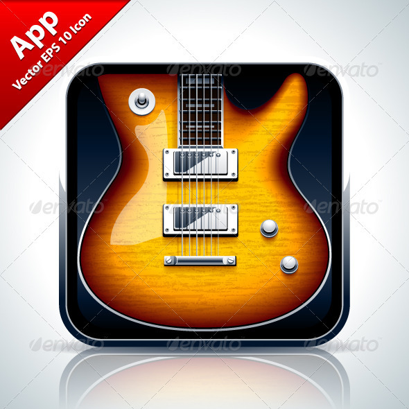 Guitar Musical App Icon - Web Elements Vectors