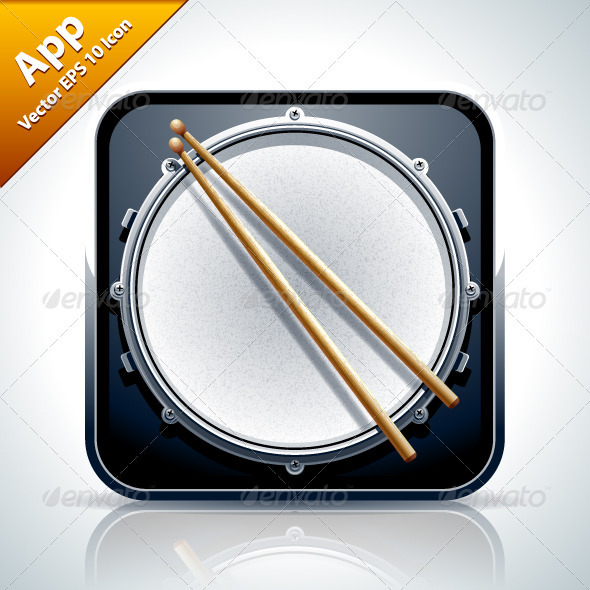 Drum Musical App Icon - Web Elements Vectors