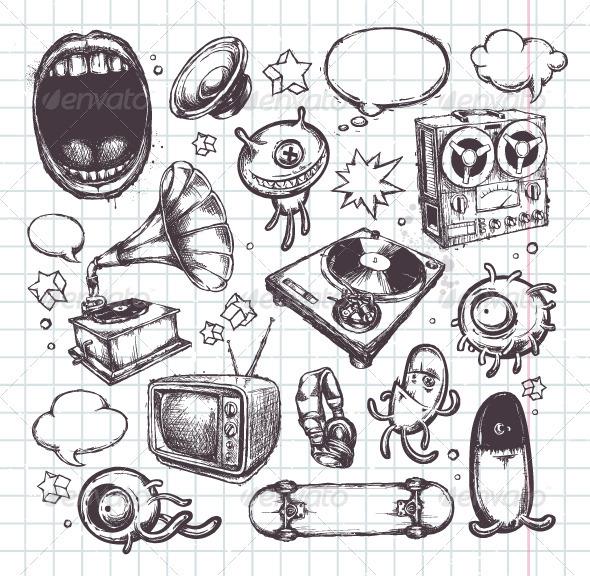 Set of Hand Drawn Elements - Vectors