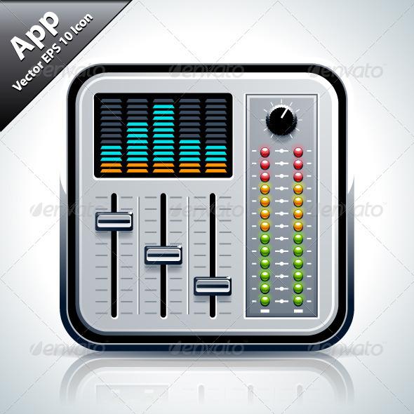 Mixer Musical App Icon - Web Elements Vectors