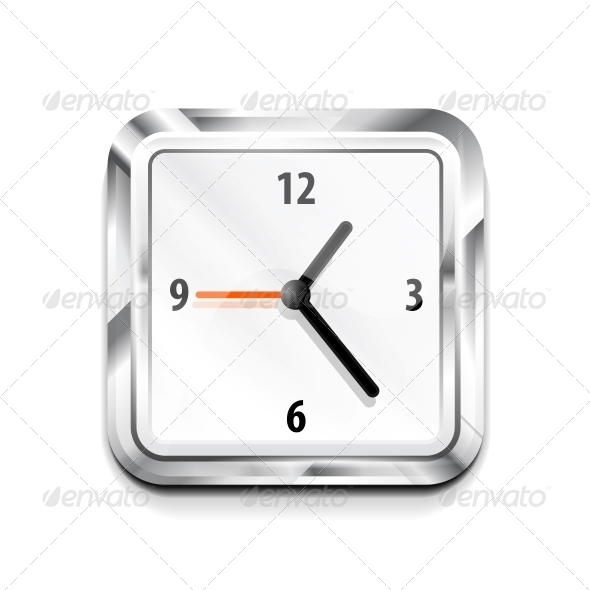 Metal Square Clock Icon. Vector Illustration - Web Elements Vectors