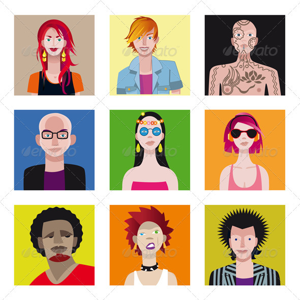 Young People Avatar Set - Characters Vectors