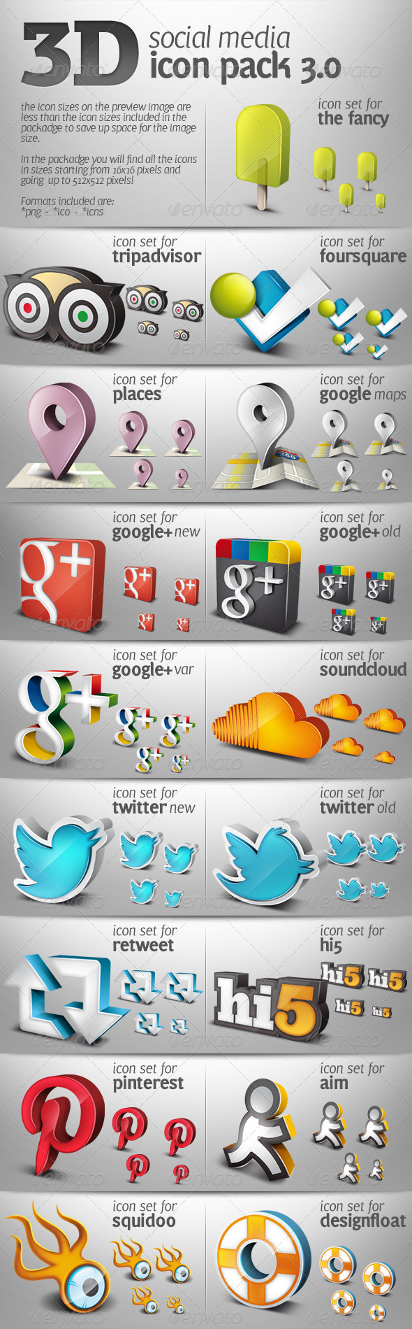3D Social Media Icons Pack 03 - Icons