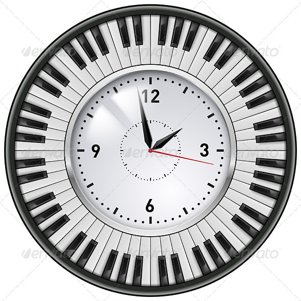 Realistic Office Clock Piano keys - Man-made Objects Objects
