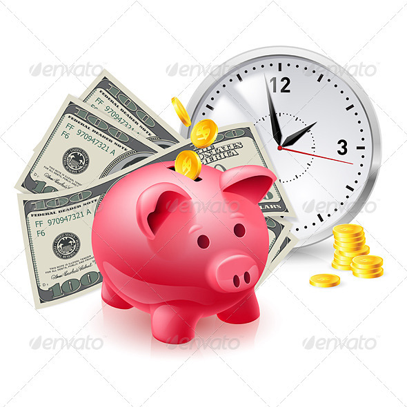 Pig Moneybox and Money - Concepts Business