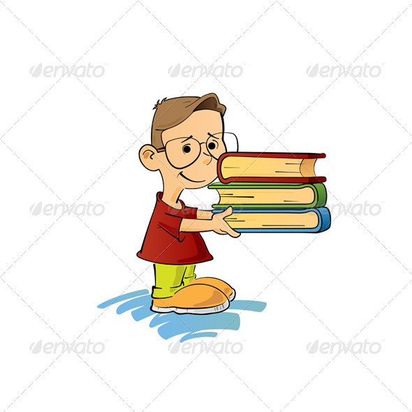 Kid With Books - People Characters